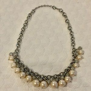 Never worn pearl and pave necklace